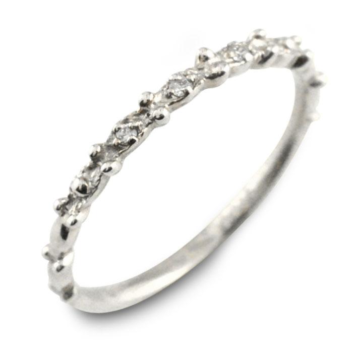 ダイヤモンド リング k10 ホワイトゴールド指輪 ゴールド ダイヤ レディース 華奢 重ねつけ 10k 10金 ミルウチ
