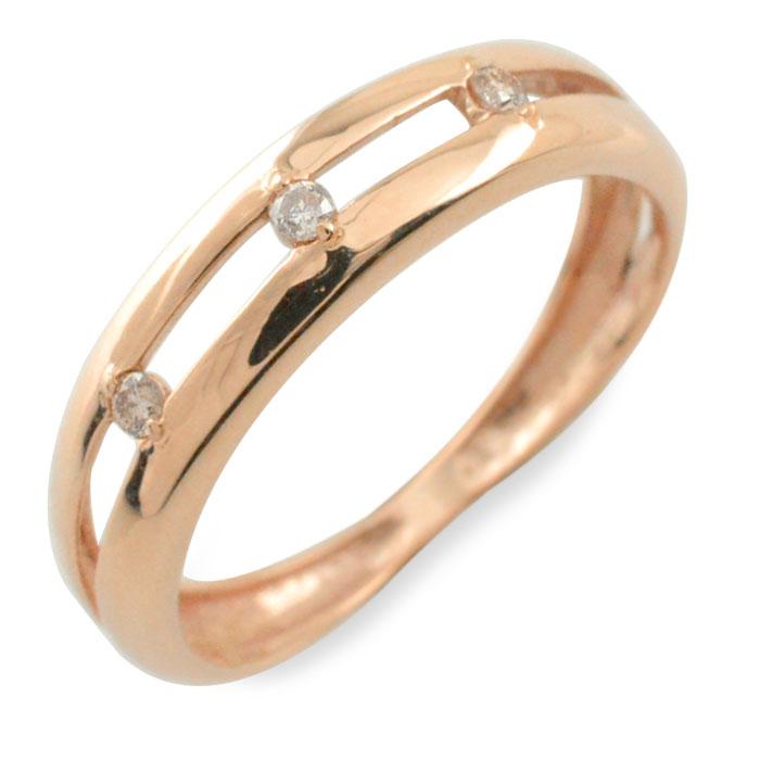 【送料無料】ダイヤモンド リング 指輪 k10 ダイヤ ゴールド ピンキーリング ピンクゴールド 10k 10金 華奢 レディース 誕生石 天然石 3石 重ねづけ クリスマス Xmas