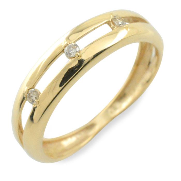 【送料無料】ダイヤモンド リング 指輪 k10 ダイヤ ゴールド ピンキーリング イエローゴールド 10k 10金 華奢 レディース 誕生石 天然石 3石 重ねづけ クリスマス Xmas
