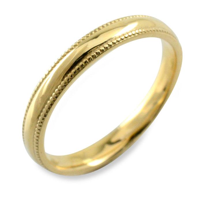 【送料無料】リング メンズ k18 指輪 イエローゴールド 地金リング ゴールド ミル打ち 18k 甲丸 18金 記念日