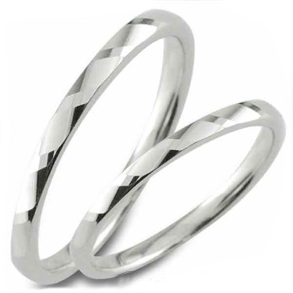 【送料無料】結婚指輪 マリッジリング プラチナ 甲丸 カットリング pt900 ペア 2本 セット ペアリング ストレート メンズ レディース 記念日 指輪