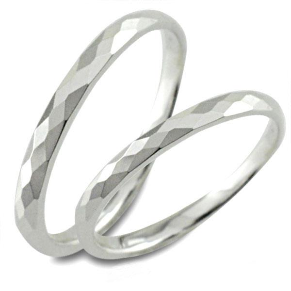 結婚指輪 マリッジリング ホワイトゴールド k10 10k 10金 甲丸 カットリング ペア 2本 セット ペアリング ストレート メンズ レディース 記念日 指輪