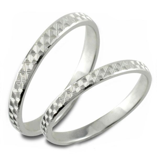 【送料無料】結婚指輪 マリッジリング ホワイトゴールド 平打ち カットリング k10 ペア 2本 セット ペアリング ストレート メンズ レディース 記念日 指輪 クリスマス Xmas
