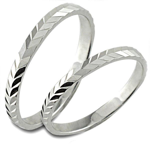 結婚指輪 マリッジリング ホワイトゴールド k18 平打ち カットリング 18k ペア 2本 18金 セット ペアリング ストレート メンズ レディース 記念日 指輪