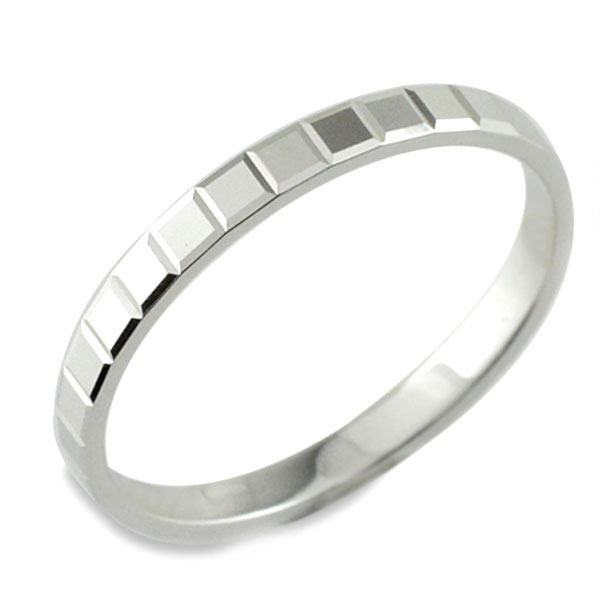 【送料無料】メンズ カットリング 地金リング 平打ち ホワイトゴールド k18 リング シンプル 結婚指輪 ハンドメイド 18k 18金