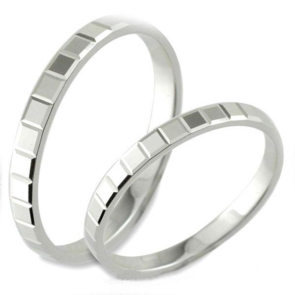 【送料無料】結婚指輪 マリッジリング ブライダル ホワイトゴールド 平打ち カットリング k18 ペア 2本 セット ペアリング ストレート メンズ レディース 記念日 指輪 クリスマス Xmas