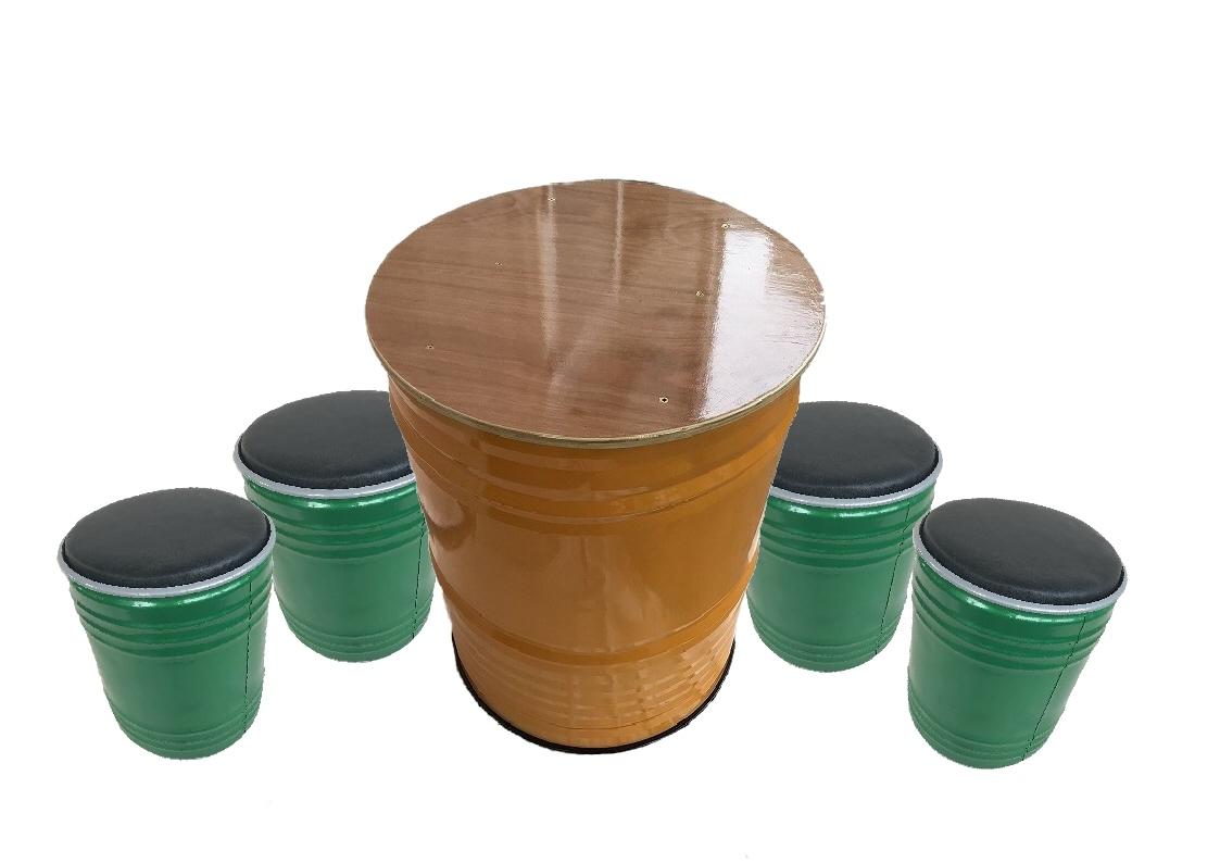 キャニチャー テーブル&スツールセット イエロー&グリーン(TS-02 SOFA SET YLW) テーブル スツール おしゃれ 家具 ドラム缶 ガーデンファニチャー