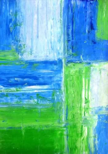 【取寄品】【送料無料】Blue and Green Abstract Art Painting インテリアパネル パネルフレーム IAP51602 キャンバス モダンアート 560×800mm お洒落インテリア通販