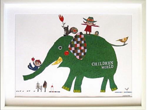 取寄品 コロボックル Colobockle Children World ZCO-10335 額付インテリアアートポスター通販