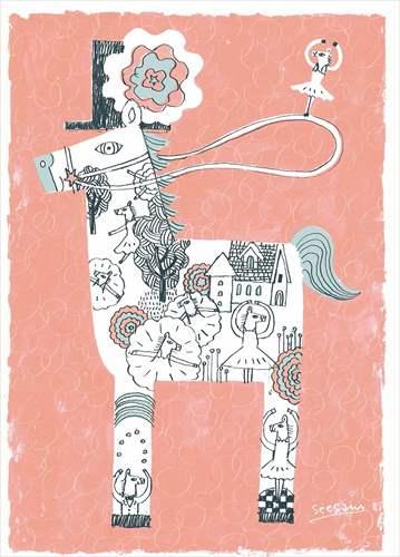 【取寄品】【送料無料】see saw. カフェ風インテリア パネルフレーム ダンス キャンバス イラストレーター 300×420mm お洒落インテリア通販