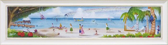 取寄品 なかの まりの 風景画 額付きポスター 地上の楽園 L 和洋折衷 インテリア 雑貨