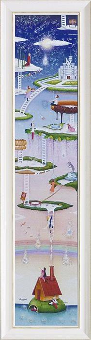 取寄品 なかの まりの 風景画 額付きポスター 星降る海 L 和洋折衷 インテリア 雑貨