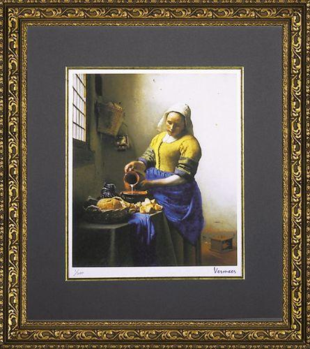 【取寄品】【送料無料】ヨハネス・フェルメール 牛乳を注ぐ少女 額付きポスター インテリアアート 名画 バロック派 通販