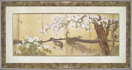 【取寄品】【送料無料】狩野永徳 桜と孔雀 額付きポスター インテリアアート オリエンタル 通販