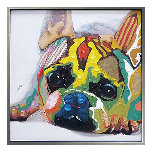 【取寄品】【送料無料】カラフルブルドッグ オイルペイントアート額付き インテリア壁掛け通販