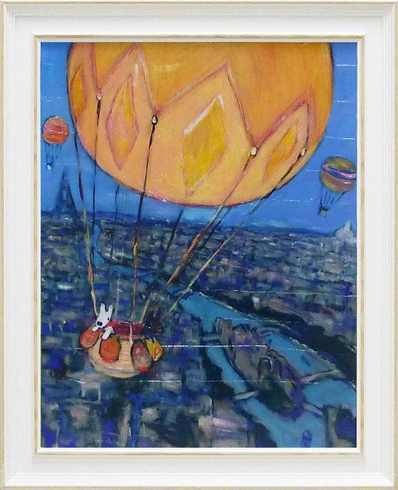 【取寄品】【送料無料】リサとガスパール フレンチアート 額付きポスターL 気球 ユーパワー 49×59cm 可愛い 絵本キャラクターグッズ 通販