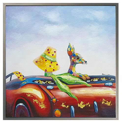 【取寄品】【送料無料】動物画 オイルペイントアート額付 ドライブデート ユーパワー 83×83cm 可愛い インテリア雑貨通販 シネマコレクション