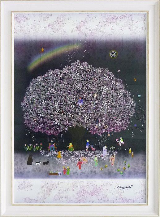 取寄品 なかの まりの 風景画 額付きポスター 春ウララ 大人カワイイ インテリア 雑貨