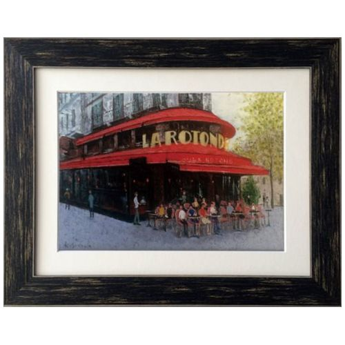 Kazu Ishikawa インテリア アート Oil Painting ART パリのカフェ モンパルナス 美工社 46.2×37cm 壁掛け 額付き油絵通販 【取寄品】 【送料無料】シネマコレクション
