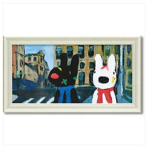 リサとガスパール フレンチ アート 額付ポスター アート フレーム L ワイド いろとりどりのばんそうこう 可愛い ギフト キャラクターグッズ 取寄品 シネマコレクション