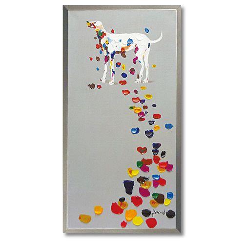 アートポスター 額付 動物画 オイル ペイント アート カラフルペタル ユーパワー 103×53cm 可愛い 犬 インテリア雑貨通販 【取寄品】 【送料無料】シネマコレクション
