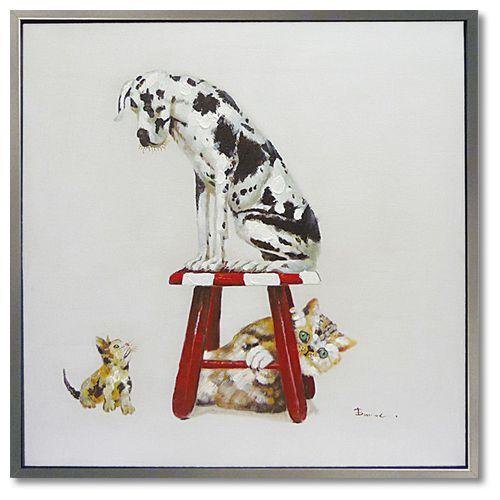 アートポスター 額付 動物画 オイル ペイント アート ベストフレンド3 特大配送 可愛い 犬 インテリア 雑貨 取寄品 シネマコレクション