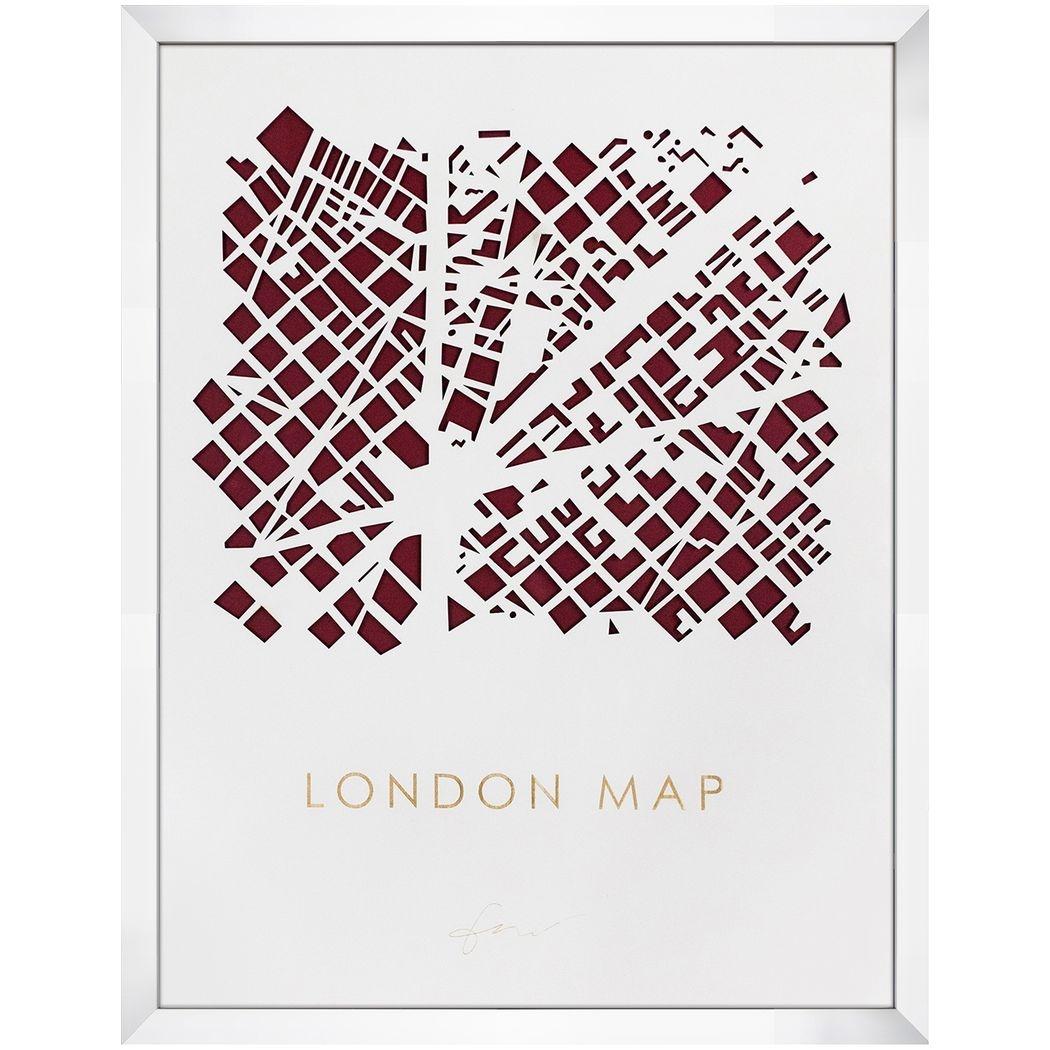 デザイナーズアート インテリア パネル 3D MAP ART ロンドン 美工社 70×90×5cm 立体 地図 額付きインテリア雑貨通販 【取寄品】 【送料無料】シネマコレクション