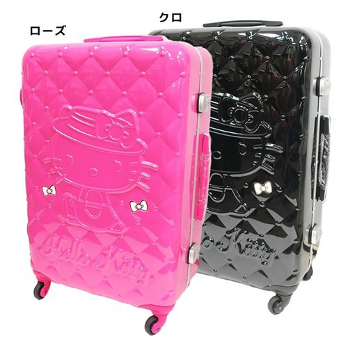 b4b566317 To Hello Kitty suitcase 26 inches carry case quilting pattern サンリオアートウエルド 66  liters overseas