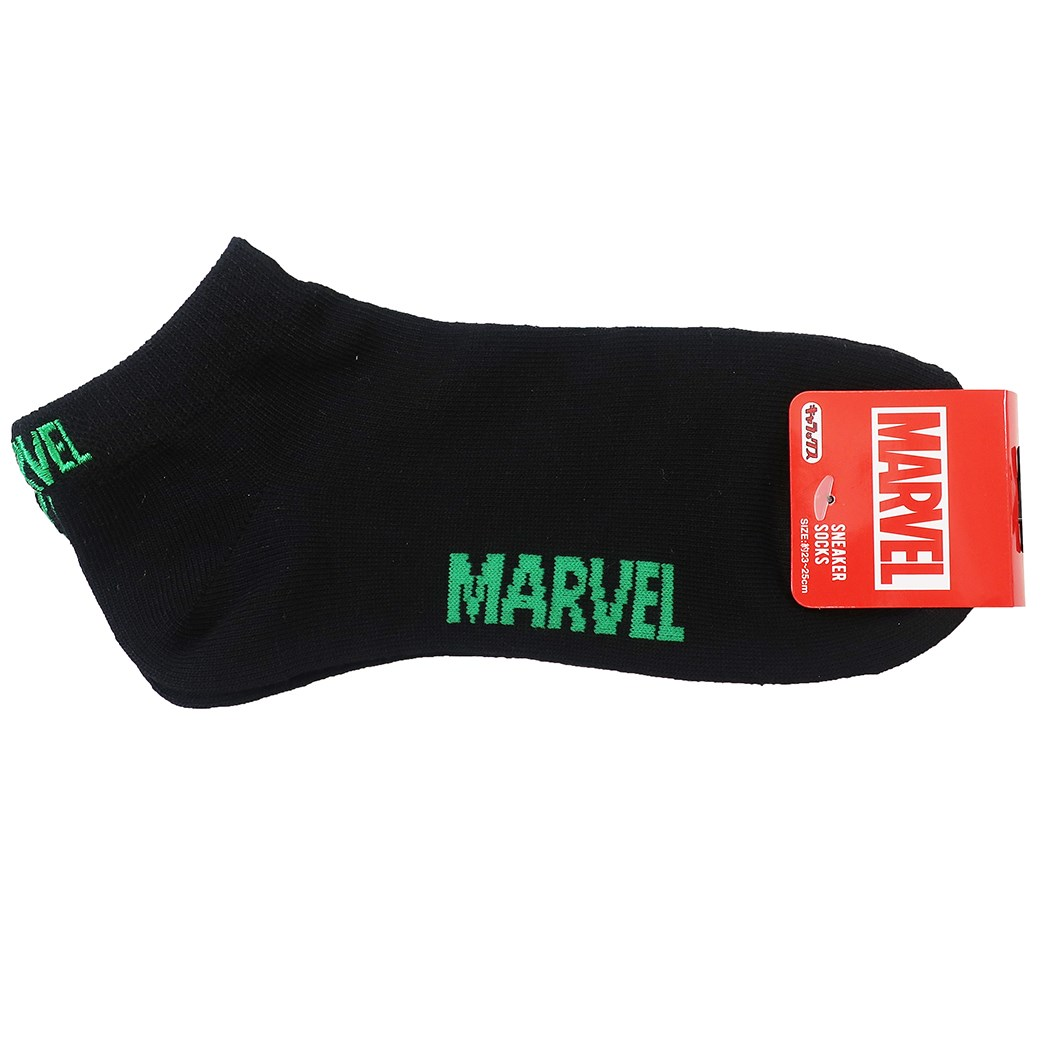 MARVEL 女性用 靴下 レディース 新作アイテム毎日更新 ブラック スニーカーソックス グリーンロゴ マーベル 大人向け 高価値 キャラクターグッズ プチギフト スモールプラネット MARVELCorner 23-25cm メール便可