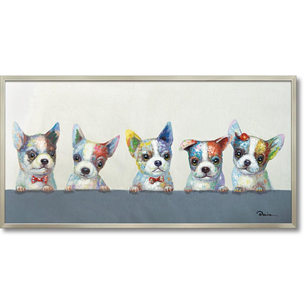 動物画 オイル ペイント アート カラフル ウェルプ 103x53cm 油絵 インテリア額縁通販 取寄品 シネマコレクション