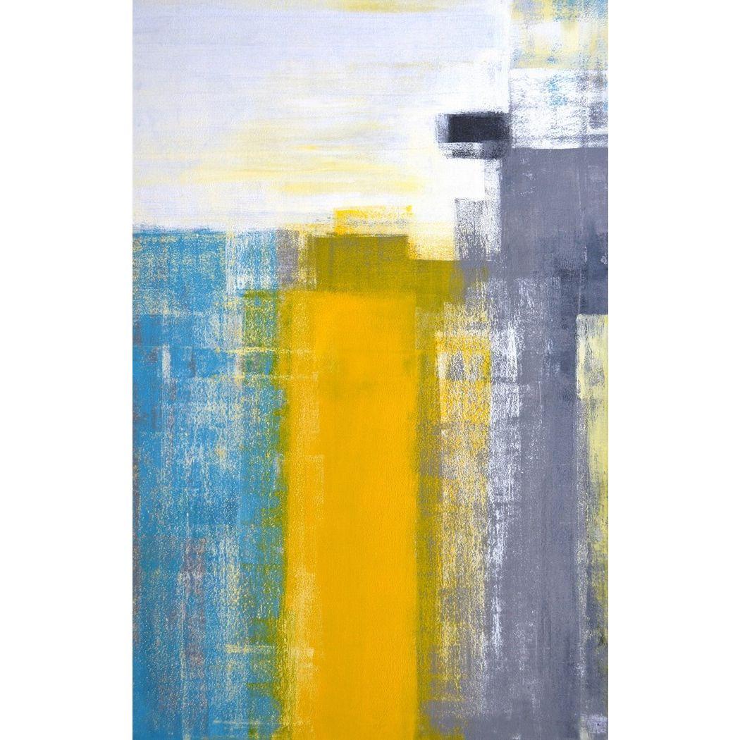 アートパネル モダン アート Art Panel Teal and Yellow Abstract Art Painting 美工社 フレームレス ギフト 装飾インテリア通販 取寄品 シネマコレクション
