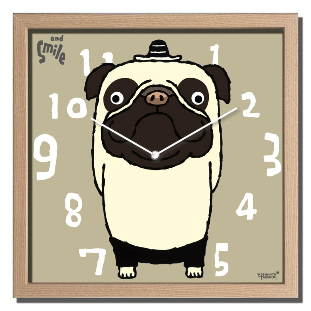 武内祐人 掛け時計 Artist Clock パグ 美工社 CAC-52638 32×32×5.5cm ギフト 可愛いインテリア通販 【取寄品】 【送料無料】シネマコレクション【全品ポイント10倍】【ママ割 エントリー5倍】 11/26まで