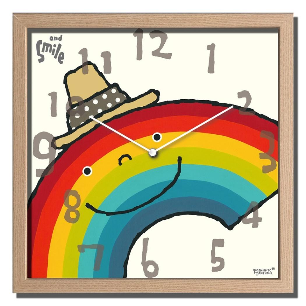 武内祐人 掛け時計 Artist Clock 虹 美工社 CAC-52640 32×32×5.5cm ギフト 可愛いインテリア通販 【取寄品】 【送料無料】シネマコレクション【全品ポイント10倍】【ママ割 エントリー5倍】 11/26まで