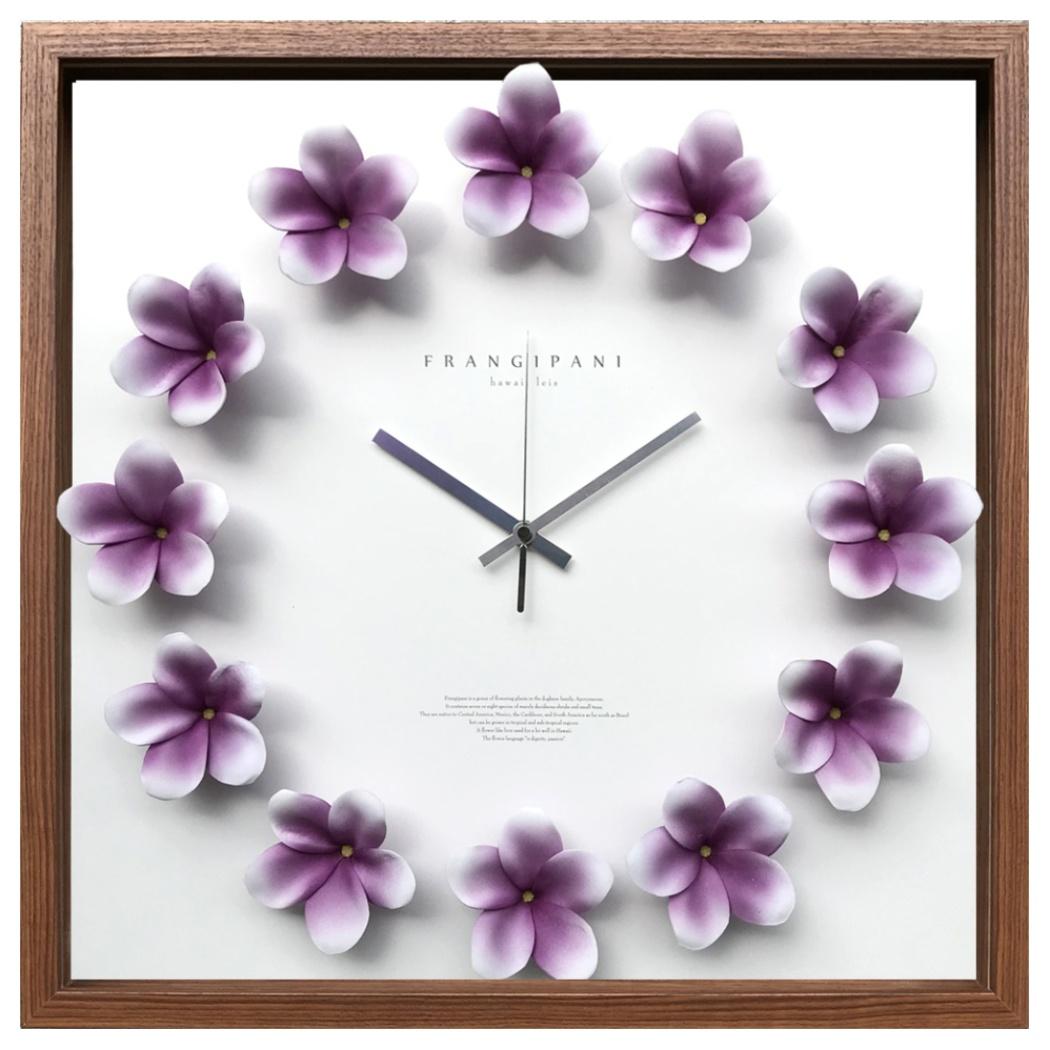 プルメリアクロック 掛け時計 Plumeria clock 休み パープル 美工社 造花 42.5x42.5x5.5cm シネマコレクション CPC-52642 ギフトインテリア通販 取寄品 おしゃれ