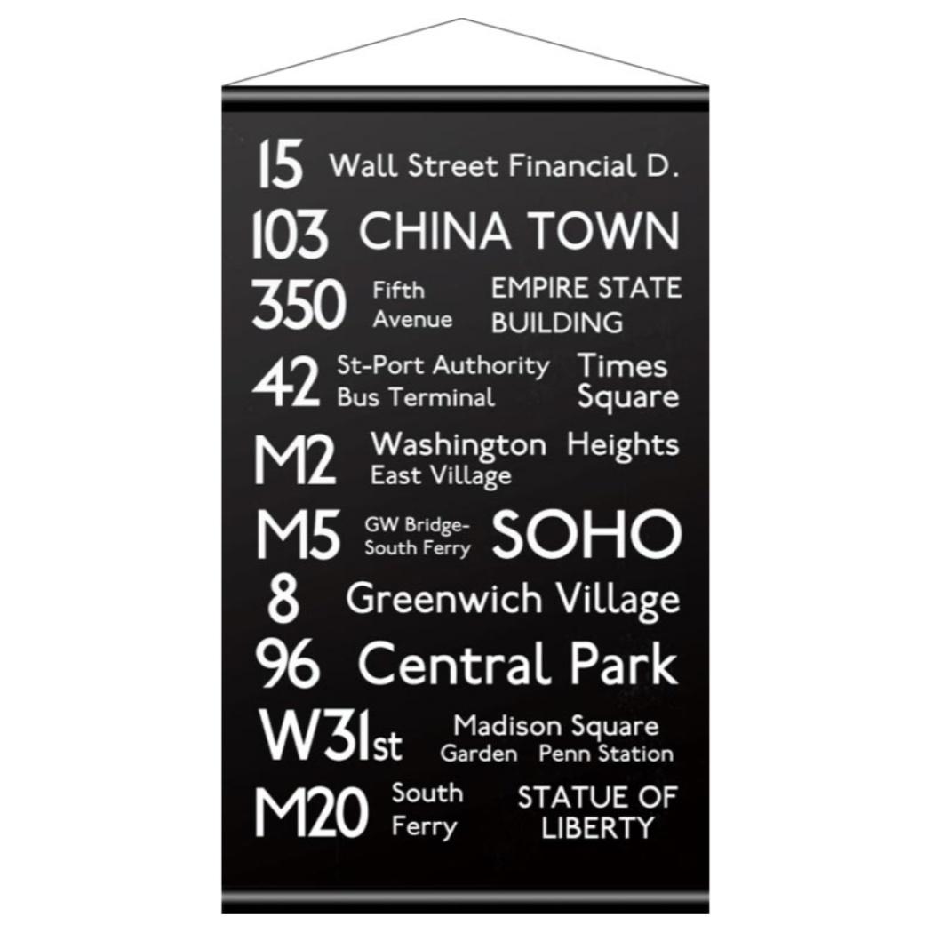 バスロールサイン タペストリー Tapestry Bus Roll Design NEW YORK (small size) ニューヨーク 美工社 IBR-51749 43×74.5cm インダストリアル 男前 ブルックリンインテリア通販 【取寄品】 【送料無料】シネマコレクション【全品10倍】【ママ割 5倍】12/26まで