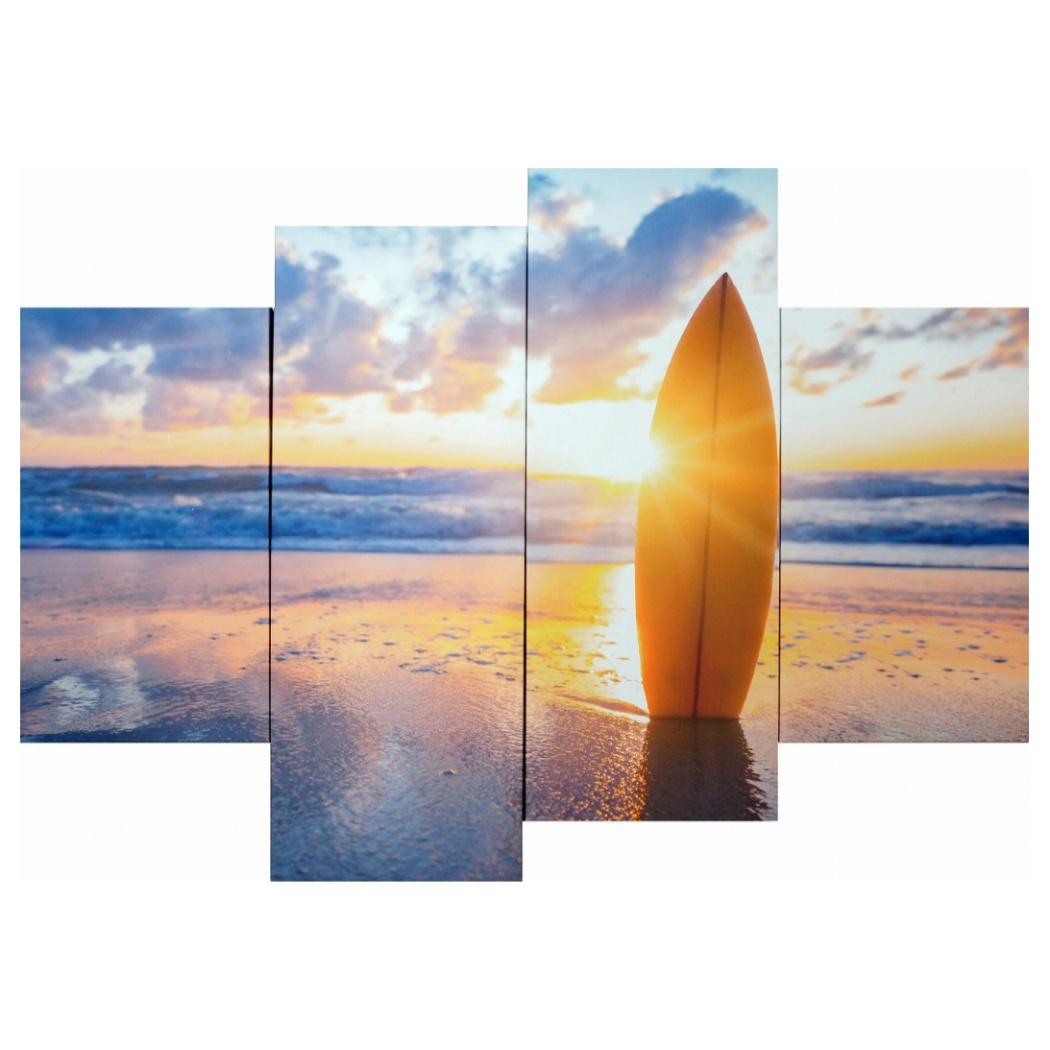 キャンバスアート 写真 アート Bello Canvas Art Surfboard on the beach at sunset (4枚セット) 美工社 IPT-61747 フレームレスインテリア通販 取寄品 シネマコレクション