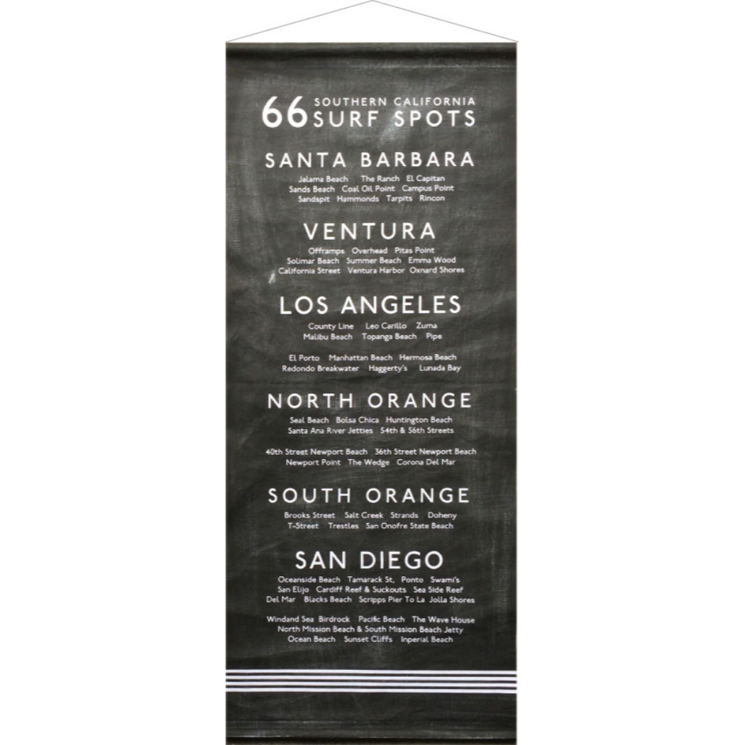 サーフスポット タペストリー Surf Spots Tapestry ブラック 美工社 IST-51719 45×100cm サーフスタイル 西海岸インテリア通販 【取寄品】 【送料無料】シネマコレクション【全品ポイント10倍】【ママ割 登録 エントリー 5倍】12/26まで