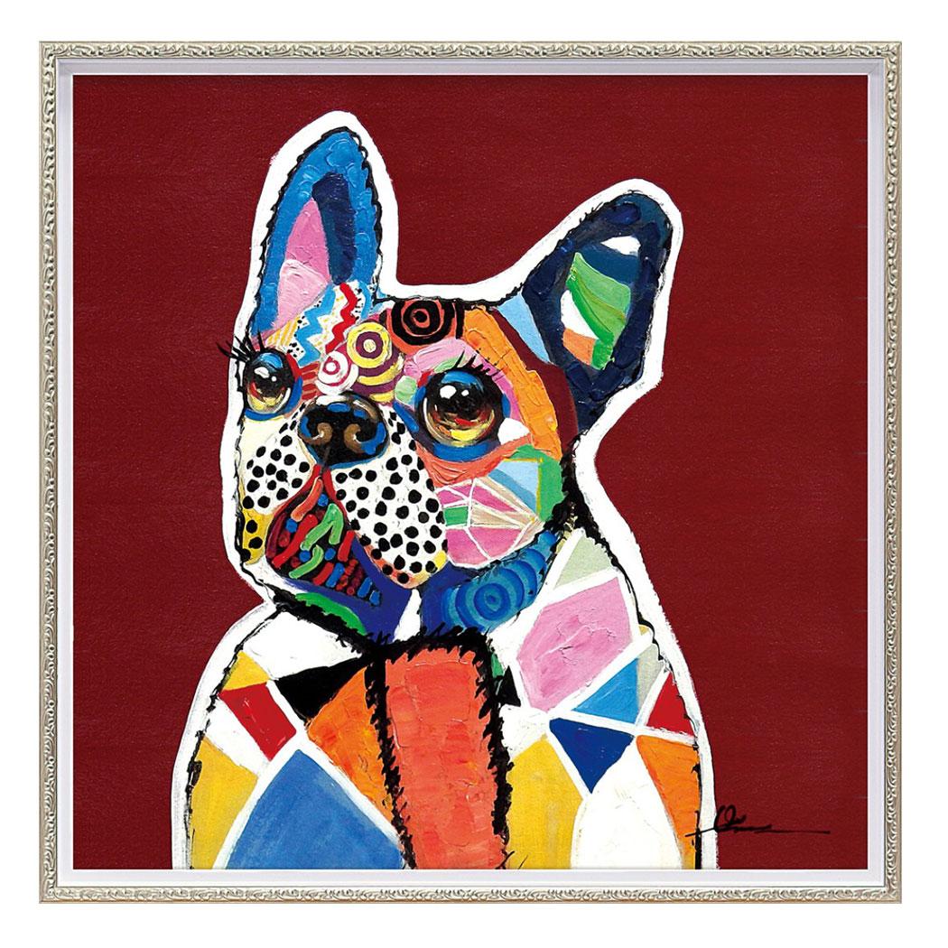 オイルペイントアート 動物画 イノセント ドッグ (Mサイズ) OP-18021 63x63cm 油絵 額付き 犬 かわいいインテリア通販 取寄品 シネマコレクション
