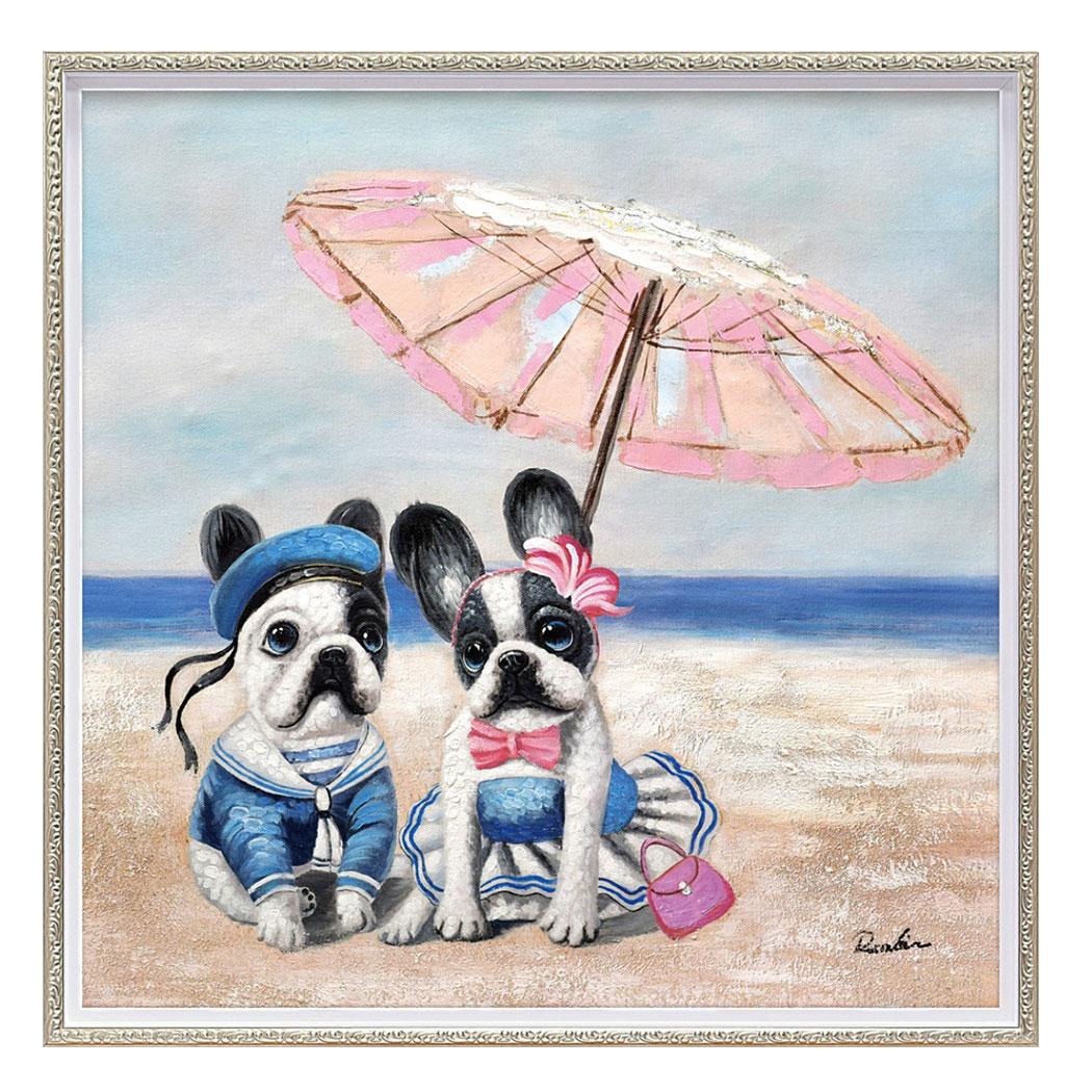 オイルペイントアート 動物画 ビーチパラソル ドッグ Mサイズ ユーパワー OP-18022 63x63cm シネマコレクション 通販 かわいいインテリア通販 額付き 油絵 取 犬 取寄品 高価値