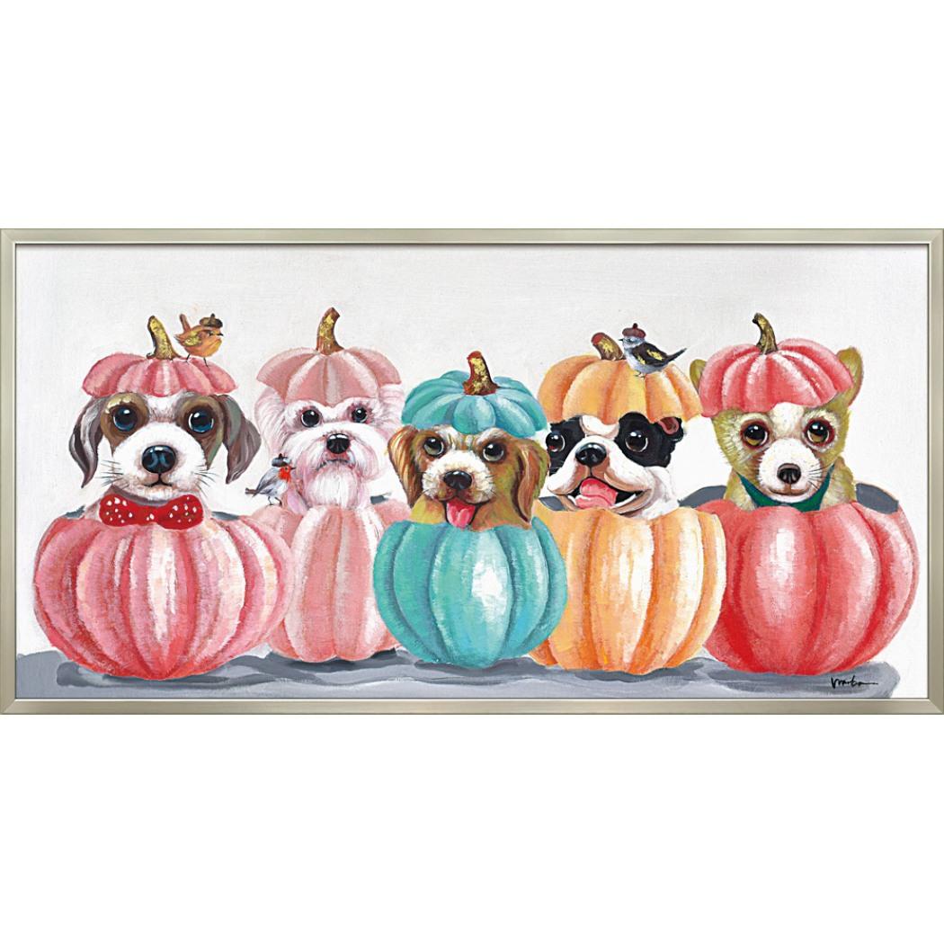 オイルペイントアート 動物画 ドッグ アンド パンプキン OP-22028 103x53cm 油絵 額付き 犬 かわいいインテリア通販 取寄品 シネマコレクション