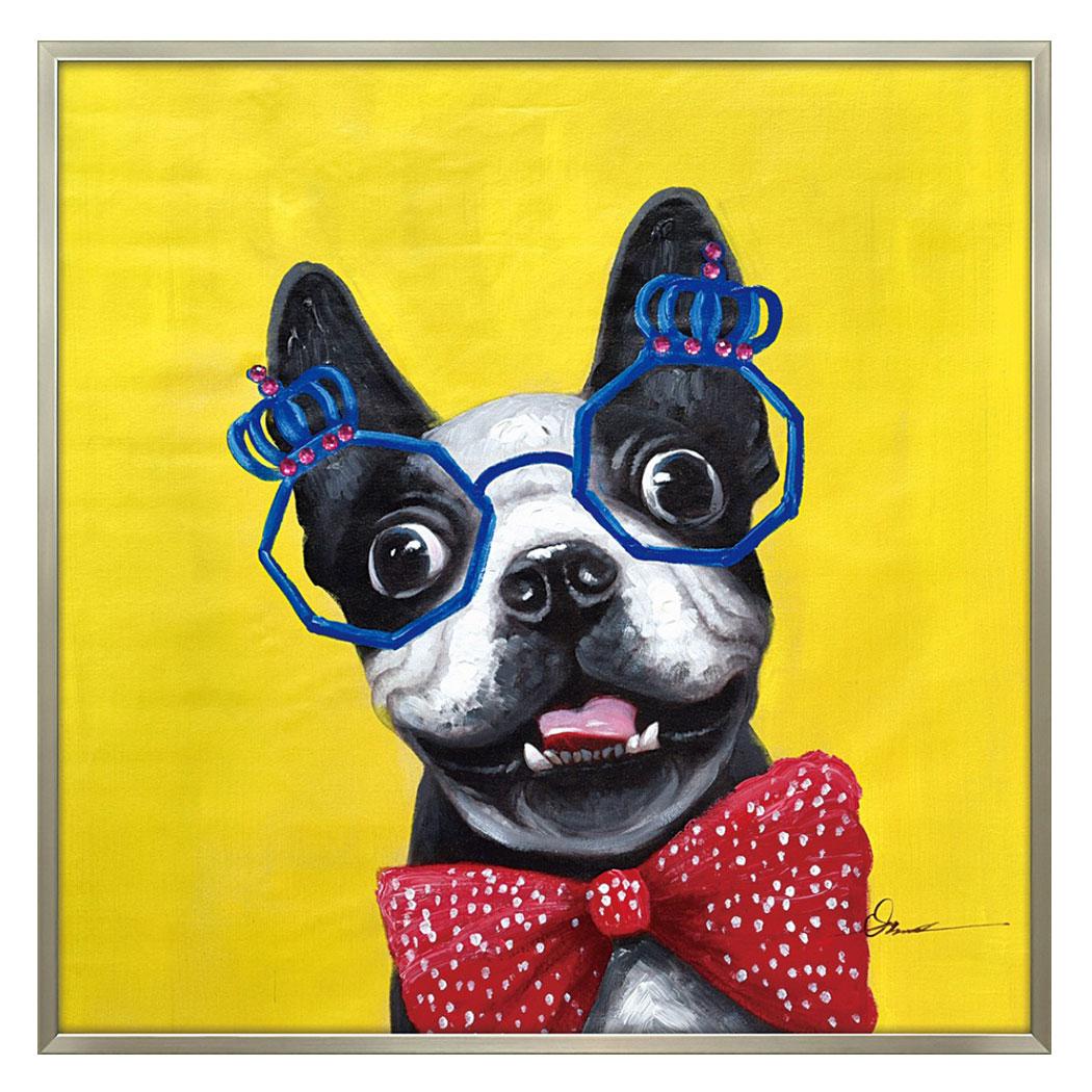オイルペイントアート 動物画 コメディアン ドッグ OP-25080 83x83cm 油絵 額付き 犬 かわいいインテリア通販 取寄品 シネマコレクション