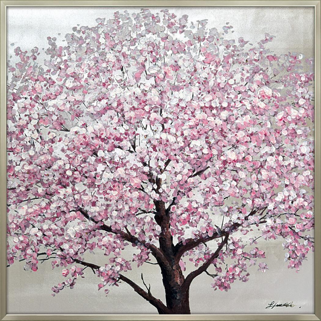 オイルペイントアート 和風 シルバー サクラ OP-25081 83x83cm 油絵 額付き 桜 和モダンインテリア通販 取寄品 シネマコレクション