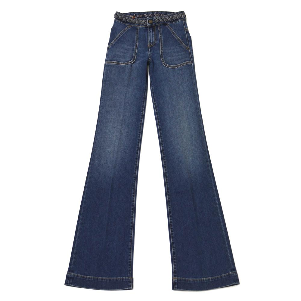 Notify【ノティファイ】フレアデニム WTD22291 DAHLIA cotton strech MEDIUM BLUE(ミディアムブルー)