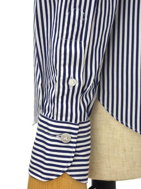 Finamore【フィナモレ】ストライプシャツ 012396 02 ZOE CLELIA コットン ホワイト ネイビー