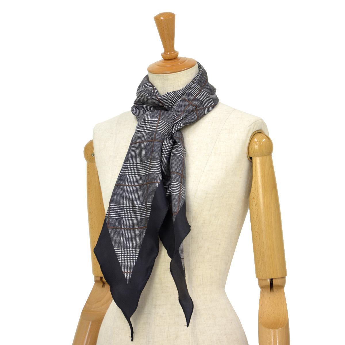 Altea【アルテア】ひし形チェック柄スカーフ 1860504 01 シルク ブラック
