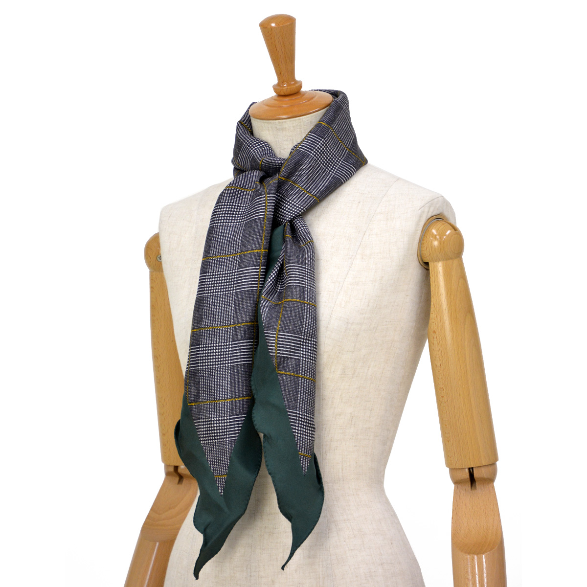 Altea【アルテア】ひし形チェック柄スカーフ 1860504 03 シルク グリーン