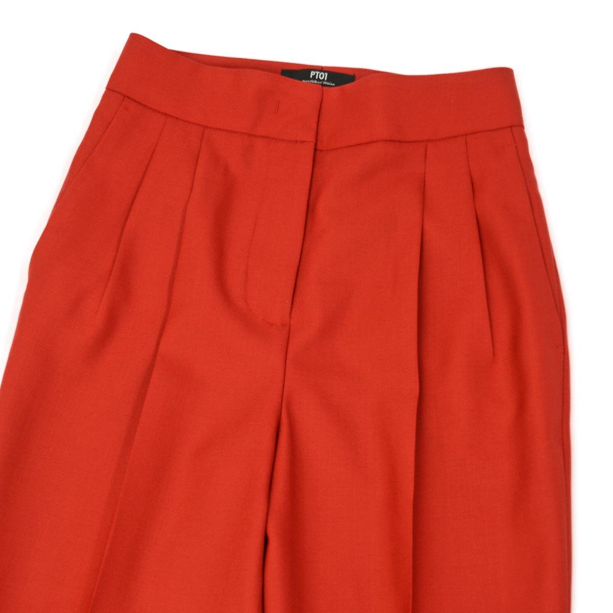 PT01 woman pants【ピーティーゼロウーノ】ツータックテーパードパンツ ALMA VB17 0650 ウール レッド