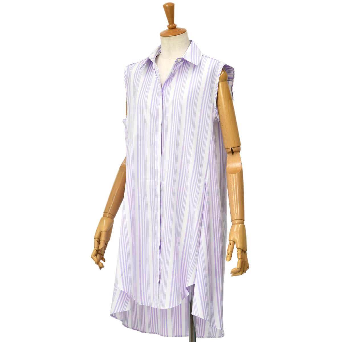 Bagutta【バグッタ】ストライプノースリーブシャツ SALLY 10408 240 コットン ラベンダー