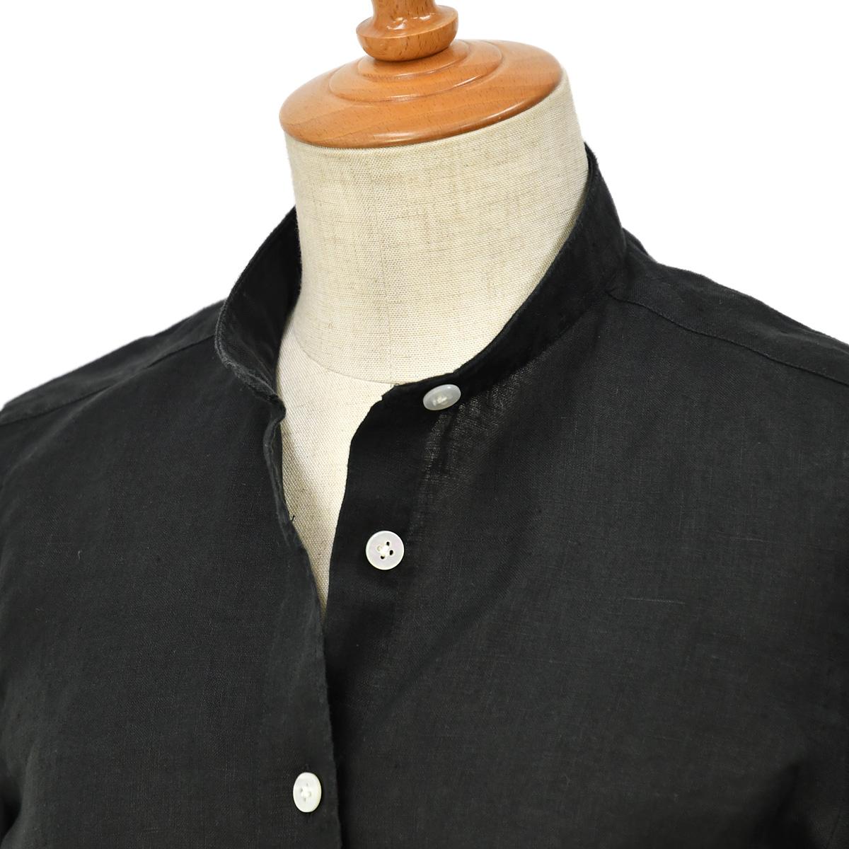 Finamore【フィナモレ】リネンバンドカラーシャツ P2091 10 ZOE PENNY リネン ブラック