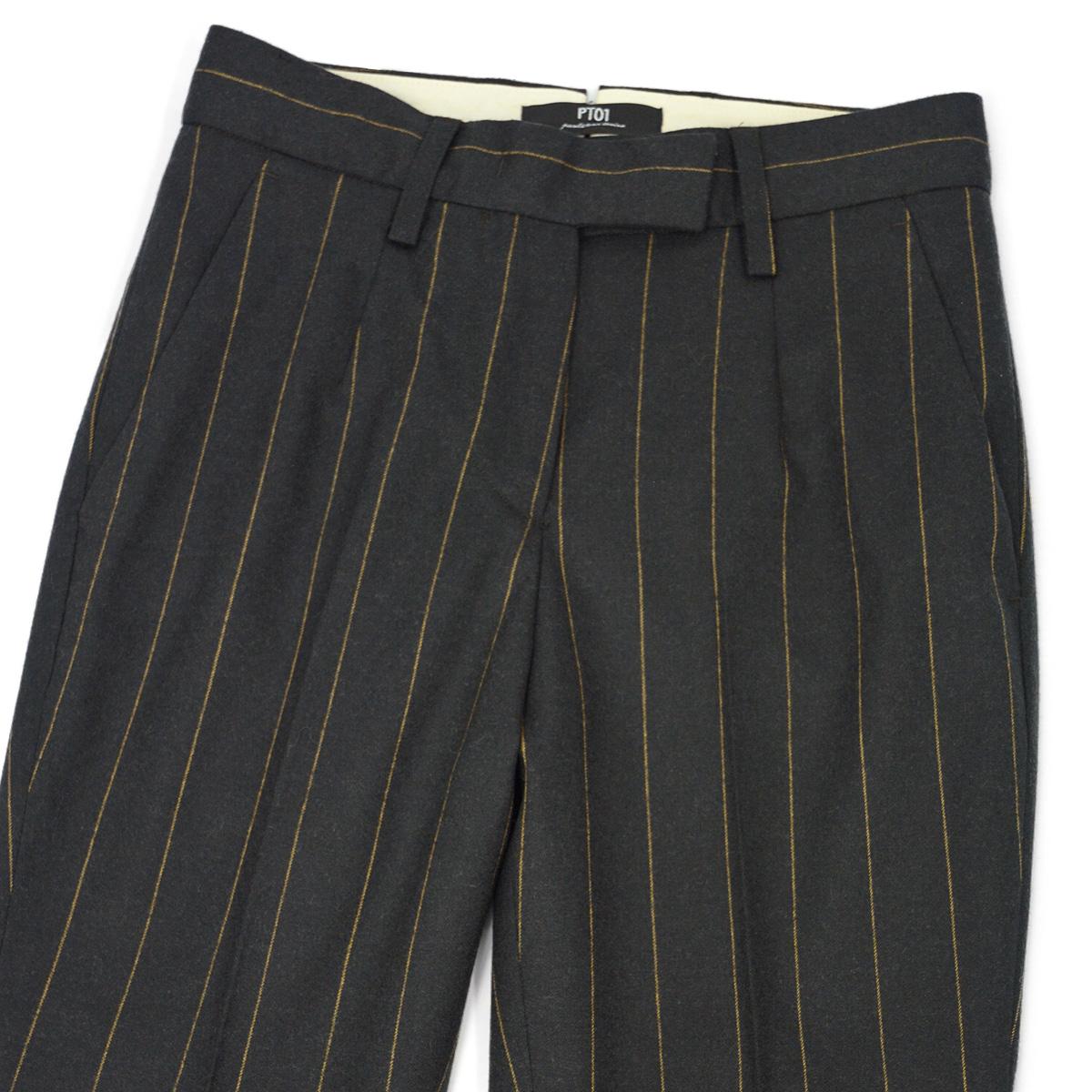 PT01 woman pants【ピーティーゼロウーノ】9分丈ストライプパンツ HOLLY CM05 0180 ウール チャコールグレー